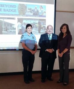 Stockton Police CSO Rosie Calderon, Stockton Police Public Information Officer Joe Silva and Pulse of 209 reporter Katherine Grey.